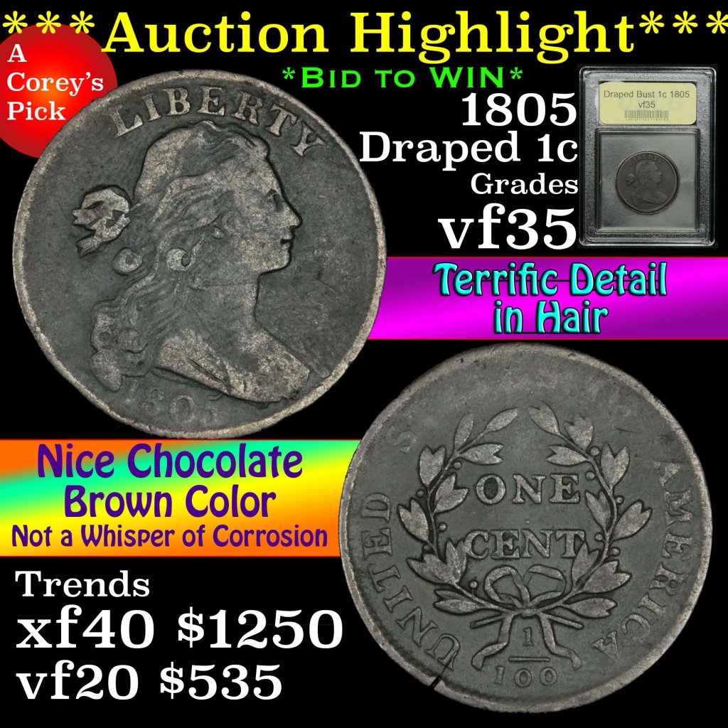 ***Auction Highlight*** 1805 Draped Bust Large Cent 1c Graded vf++ by USCG (fc)
