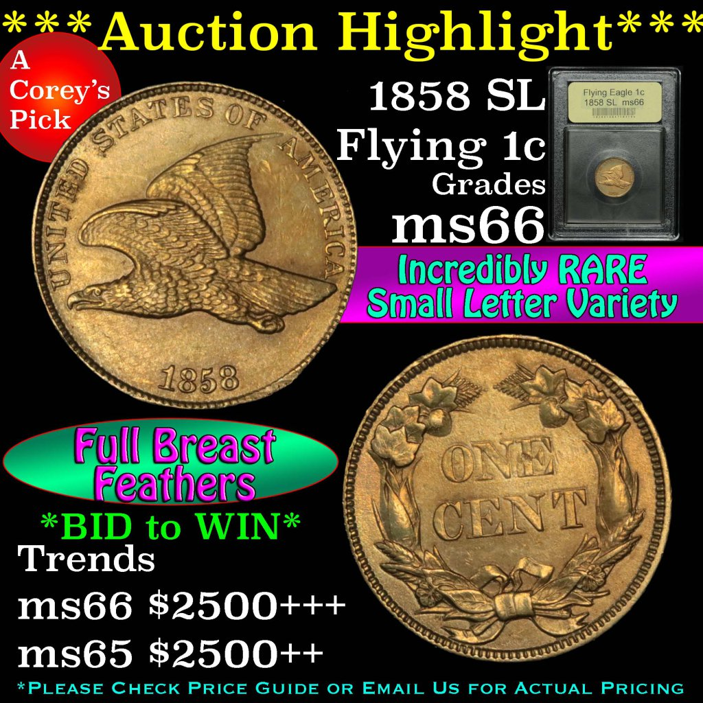 ***Auction Highlight*** 1858 SL Flying Eagle Cent 1c Graded GEM+ Unc by USCG (fc)