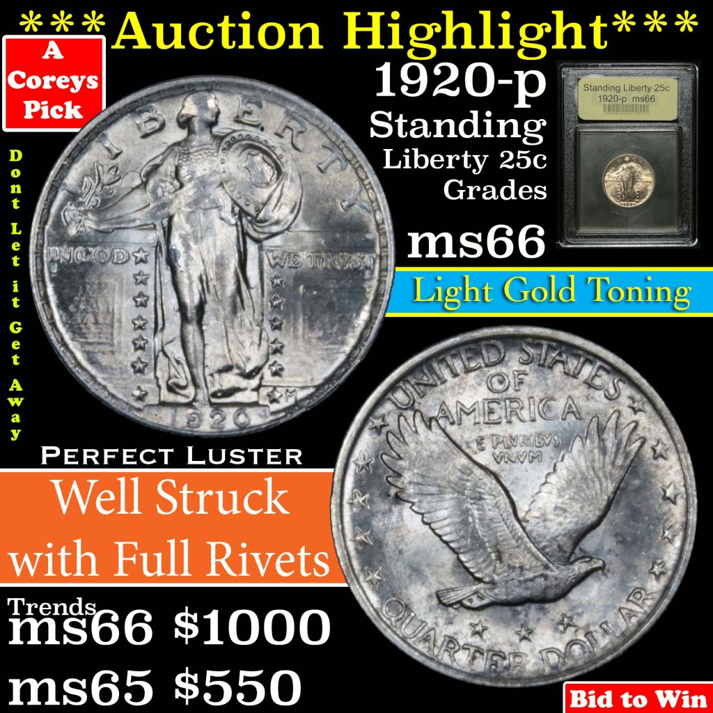 ***Auction Highlight*** 1920-p Standing Liberty Quarter 25c Graded GEM+ Unc by USCG (fc)