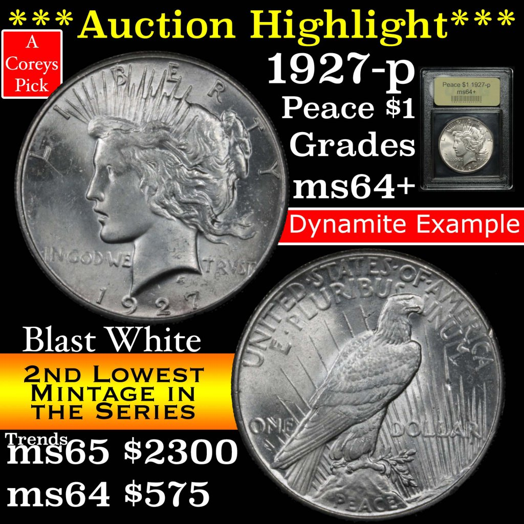 ***Auction Highlight*** 1927-p Peace Dollar $1 Graded Choice+ Unc by USCG (fc)
