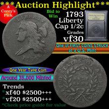 1793 Liberty Cap 1/2c Grades vf++ (fc)
