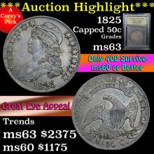1825 Capped Bust Half Dollar 50c Graded Select Unc