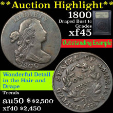 1800 Draped Bust Large Cent 1c Graded xf+ by USCG