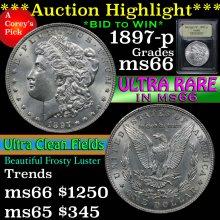 1897-p Morgan Dollar $1 Graded GEM+ Unc by USCG
