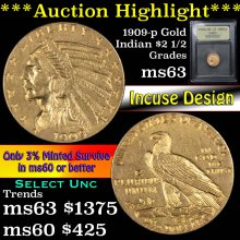 1909-p Gold Indian Quarter Eagle $2 1/2 Graded