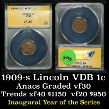 ANACS 1909-s VDB Lincoln Cent 1c Graded vf30