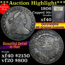 1806 Draped Bust Half Dollar 50c Graded xf by USCG