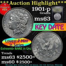1901-p Morgan Dollar $1 Graded Select Unc by USCG