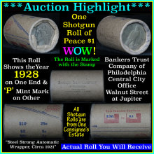 Auction Highlight* Peace dollar roll ends 1928 &
