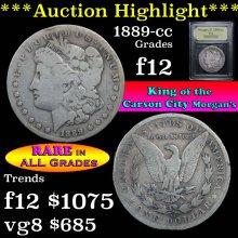 1889-cc Morgan Dollar $1 Graded f, fine by USCG