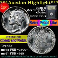 1938-d Mercury Dime 10c Graded GEM++ FSB By USCG
