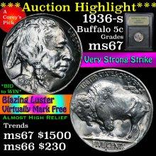 1936-s Buffalo Nickel 5c Graded GEM++ Unc By USCG