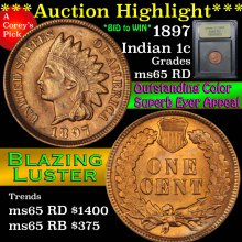 1897 Indian Cent 1c Graded GEM Unc RD By USCG (fc)