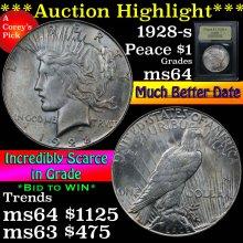 1928-s Peace Dollar $1 Graded Choice Unc By USCG