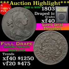 1803 Draped Bust Large Cent 1c Graded xf By USCG