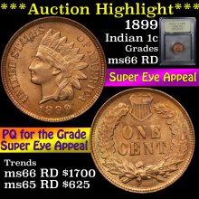 1899 Indian Cent 1c Graded GEM+ Unc RD By USCG(fc)