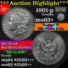 1901-p Morgan Dollar $1 Graded Select+ Unc By USCG