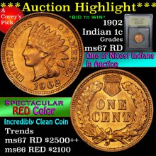 1902 Indian Cent 1c Graded GEM++ Unc RD By USCG