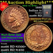 1880 Indian Cent 1c Graded GEM+ Unc RD By USCG