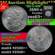 1886-o Morgan Dollar $1 Graded Select+ Unc By USCG