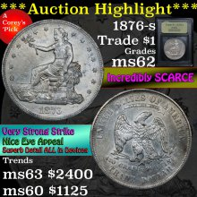 1876-s Trade Dollar $1 Graded Select Unc By USCG