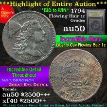 1794 Flowing Hair large cent 1c Graded AU