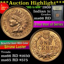 1909 Indian Cent 1c Graded GEM+ Unc RD By USCG(fc)