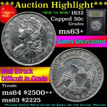 1832 Capped Bust Half Dollar 50c Graded Select+Unc
