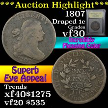 1807 Draped Bust Large Cent 1c Graded vf++ By USCG
