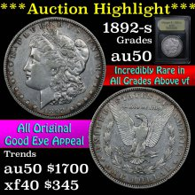 1892-s Morgan Dollar $1 Graded AU, Almost Unc USCG
