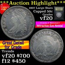 1807 Large Stars Capped Bust Half Dollar 50c vf