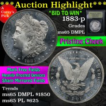 1883-p Morgan Dollar $1 Graded GEM Unc DMPL USCG