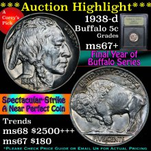 1938-d Buffalo Nickel 5c Graded GEM++ Unc By USCG