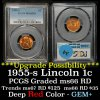 PCGS 1955-s Lincoln Cent 1c Graded ms66 RD By PCGS