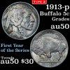 1913-p Ty2 Buffalo Nickel 5c Grades AU, Almost Unc