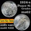 1924-s Peace Dollar $1 Grades Select Unc (fc)