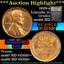 1929-s Lincoln Cent 1c Graded GEM+ Unc RD By USCG