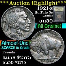 1921-s Buffalo Nickel 5c Graded Choice AU/BU