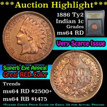 1886 Ty2 Indian Cent 1c Graded Choice Unc RD USCG