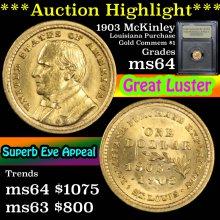 1903 Mckinley LA Purchase Gold commem $1 Graded