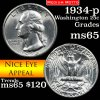 1934-p Washington Quarter 25c Grades GEM Unc