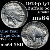 1913-p Ty1 Buffalo Nickel 5c Grades Choice Unc