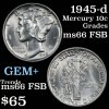 1945-d Mercury Dime 10c Grades GEM+ FSB