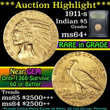 1911-s Gold Indian Half Eagle $5 Graded Choice+