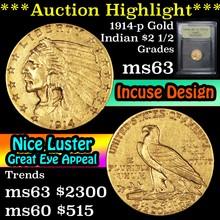 1914-p Gold Indian Quarter Eagle $2 1/2 Graded