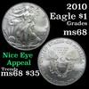 2010 Silver Eagle Dollar $1 Grades GEM+++ Unc