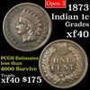 1873 Open 3 Indian Cent 1c Grades xf