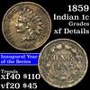 1859 Indian Cent 1c Grades xf details