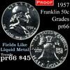 1957 Franklin Half Dollar 50c Grades GEM+ Proof
