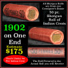 Indian Head Penny 1c Shotgun Roll, 1902 on one end, reverse on the other